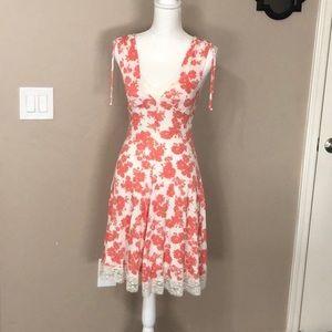 Guess peach off white lace trim summer dress SZ XS